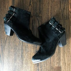 Sam Edelman Black Buckle Distressed Bootie